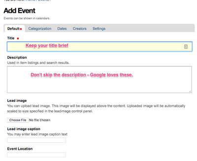 screenshot of event form